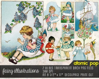 Fairy Illustrations Digital Files Hi Res JPEGs and Decoupage Clipart