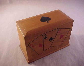 Wood Playing Cards Storage Box With 2 Complete Decks Of Cards