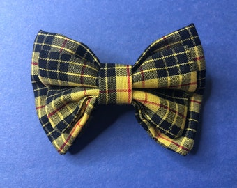 Hair Bow Barrette Yellow and Black Plaid