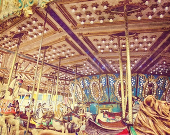 Carousel Photograph, Seaside NJ,  Nursery Decor, Jersey Shore Boardwalk, Merry Go Round