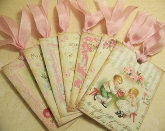 Valentines Day Tags Valentines Day Party Favors Gift Tags  Pink Aqua and Cream Set of 7