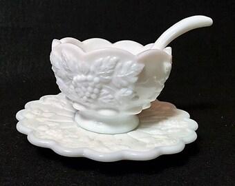 Westmoreland Vintage Milk Glass Grape Paneled Mayonnaise Bowl with Ladle