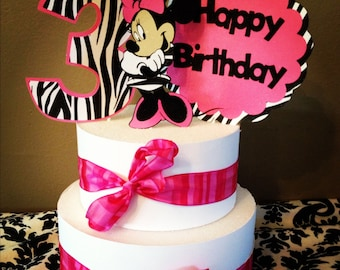 Minnie Mouse birthday banner pink polkadot and zebra print