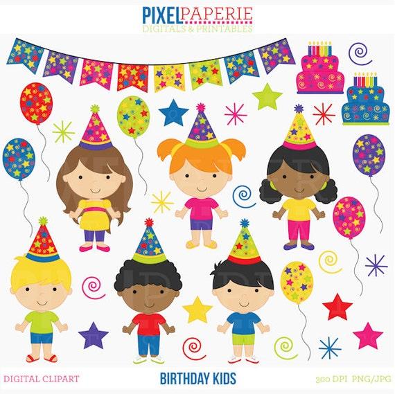 birthday clipart clip art kids children birthday kids digital clip rh etsystudio com Clip Art Birthday Party Birthday Clip Art Black and White