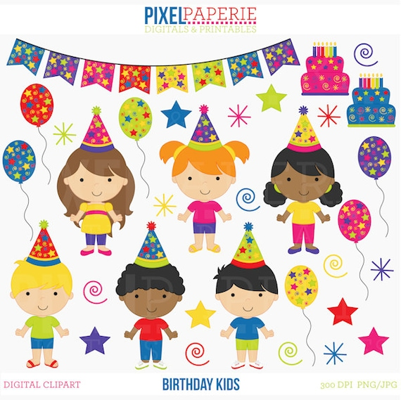 birthday clipart clip art kids children birthday kids digital clip rh etsystudio com Happy Birthday Birthday Clip Art Black and White