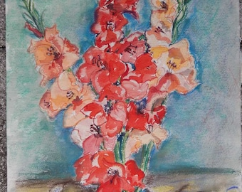Original Watercolor & Pastel Gladiolas 12x15 Painting