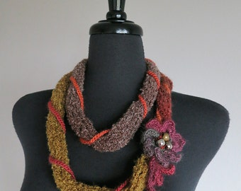 Olive Khaki Green Orange Burgundy Wine Brown Color Knitted Chunky Cords Lariat Bib Necklace with Crochet Flower and Beads