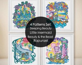 Sleeping Beauty  + Ariel + Rapuncel + Belle - Modern Cross Stitch -Disney Princess Pattern -Disney Character  - PDF - Instant Download