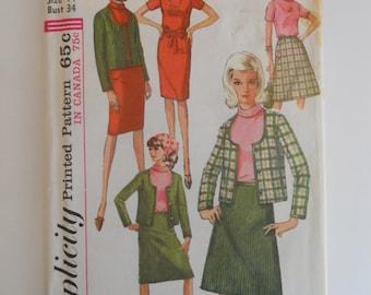 1965 Simplicity Pattern 6085 Size 14 Dress, Blouse, Jacket, and Skirt