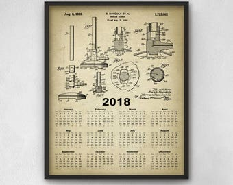 Bunsen Burner Patent Calendar 2018 - Chemistry Laboratory Equipment Design - Science Student 2018 Calendar Gift Idea - Science Patent Art