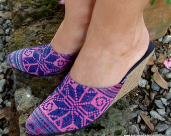 Women's Wedge Slides, Mules in Pink and Blue Embroidered Hmong - Veronica