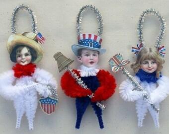 Patriotic Americana Chenille Ornaments - 4th of July Home Decor