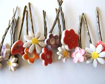 2 cute bobby pins flower daisy antique bronze hair clips Spring, Summer hair pins