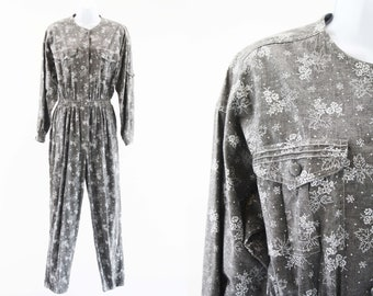 Vintage Chaus Sport Gray and White Floral Print Long Sleeve 80's Cinch Waist Woman's Retro Jumpsuit