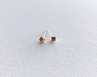 Tiny Rose Gold Cube Dainty Earrings