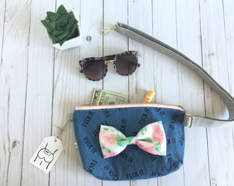 fanny pack, cuss word fanny pack, floral fanny pack, bum bag, festival pack, jean fanny pack, denim fanny pack, Floral bow fanny pack