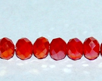 25 pcs 4x3mm Opaque Red with Gold Highlights Rondelle Glass Beads  ORGH