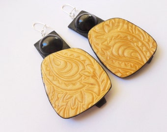 Black Gold Large Statement Earrings, Geometric Earrings, Contemporary Jewelry, Artisan Earrings, Polymer Clay Jewelry, Earrings For Women