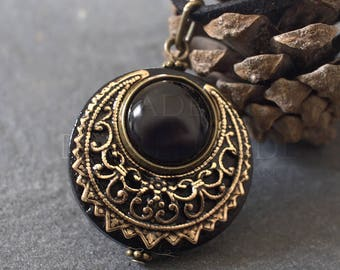 "Amulet Protection Necklace Pendant ""Lleuad"" Onyx Moon Wicca - Wood Gold-Filled Brass Gemstone - Pagan Triple Goddess"