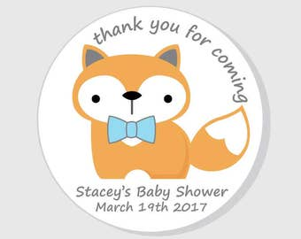 Fox Baby Shower Stickers - Thank You - Personalized White - Boy Fox with Bow Tie - 1.5 inch - 2 inch - 2.5 inch - 3 inch for Favors