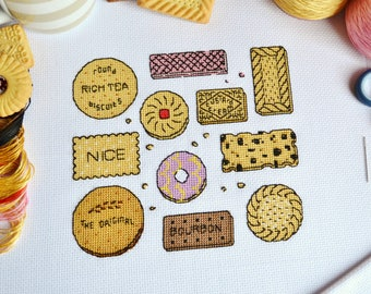 PATTERN British Biscuits Sampler Cross Stitch Chart - Biscuit Selection Cross Stitch Pattern with DMC Thread Numbers