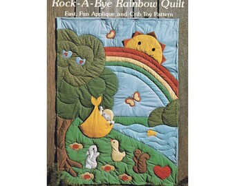 Rock-A-Bye Rainbow Baby Crib Quilt and Doll Toy, UNCUT Vintage 1980's Sewing Pattern by The Gingham Goose GGP013