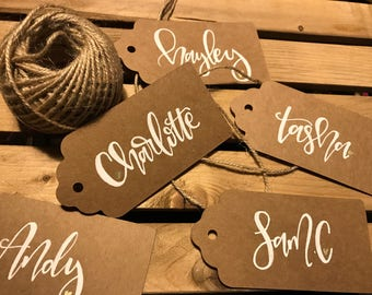 Calligraphy personalised kraft brown gift tags or wedding place cards
