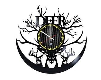 Deer Vinyl Record Wall Clock