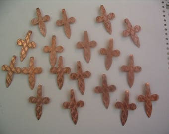 18 Vintage Copper Cross Charms for Jewelry or Craft Supplies