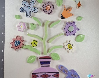 Mix of Flower in a  BOUQUET - Kiln Fired Handmade Ceramic Mosaic Tiles M3421