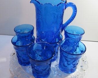 Water Set Moser Glass Pitcher & 6 tumblers Strawberry Pattern Circa 1970's #E70