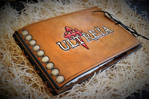 Leather journal, pilgrim diary, carved leather book, for Compostela way, catholic, spirituality,