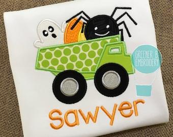 Halloween Dump Truck Applique Shirt / Personalized Halloween Shirt / Halloween Applique / Dump Truck Shirt / Boy Toddler Dump Truck Shirt