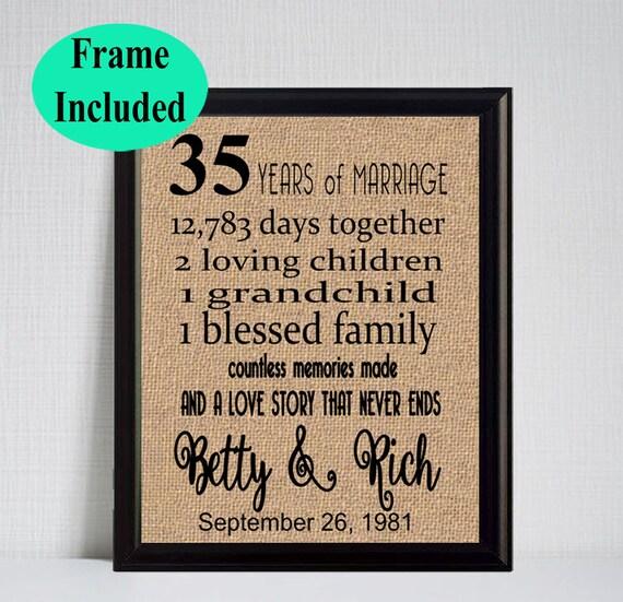 35 Year Wedding Anniversary 35th Anniversary Gift 35 Years