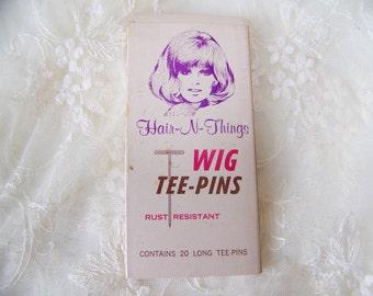 Vintage Wig Tee-Pins in Original Box. Retro Wig Pins. Wigs for Women. Retro Hair. Wig Accessories.Ladies Wigs. Free Shipping U.S.