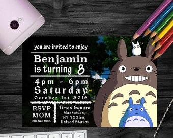 Totoro Baby, My neighbour totoro, My neighbor totoro, Totoro print, totoro invitation, totoro invite, totoro birthday party, studio Ghibli