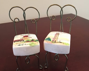 Vintage Bistro Chairs Souvenir Salt and Pepper Shakers