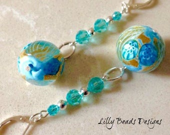 Venetian Glass Dangle Earrings,Aquamarine Zanfirico Millefiori Glass Drop Earrings,Turquoise Swarovski Earrings, Blue Crystal Earrings