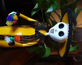 Yellow Catrina, Handmade Dia de Los Muertos Day of the Dead
