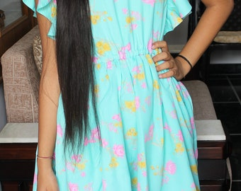 Mint Green Colour Floral Dress with Circular Flounce Sleeves