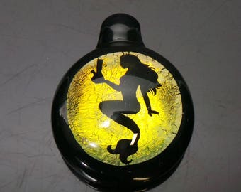"Golden Mermaid Dichroic Boroimage Pendant with Onyx Black Glass back- Lampworked pendant - Large 1.5"" diameter"