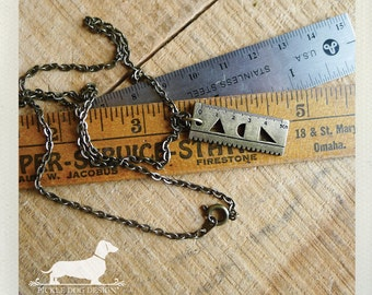 Mini Measure. Necklace -- (Vintage Style, Antiqued Brass, Back to School, Rustic, Ruler, Shapes, Simple, Geeky, Funky, Fun, Gift Under 15)