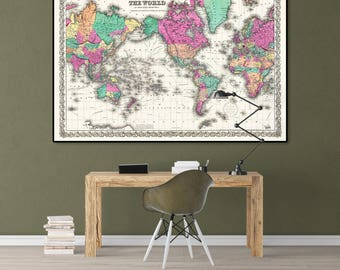 Vintage Map Of The World, Antique World Map, Vintage Map Wall Print, World Map Poster, World Map Print, Old Map Of The World, Large Print