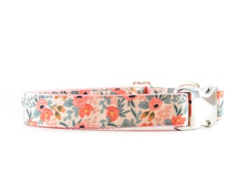 Peach Floral Dog Collar - Pink, Coral, Mint and Cream Designer Metal Buckle Dog Collar