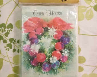 Vintage Hallmark invitations Christmas open house wreath with ornaments set of 8 3×4 3/4 in