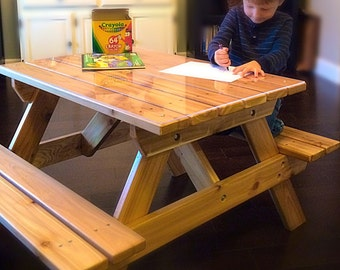 Kidsu0027 Cedar Picnic Table / Craft Bench For Kids Up To 7 Years Old
