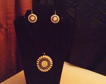 Southwest flower medallion gourd necklace and earring set