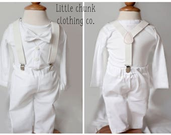 Baby boy cardigan onesie all white outfit set .. pick your bowtie...luncheon, baptism christenings babyshower