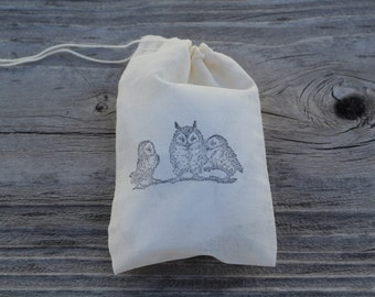 Set of 10 Hand Stamped Woodland Owls Muslin Party Favor Bags Eco Friendly 100% organic