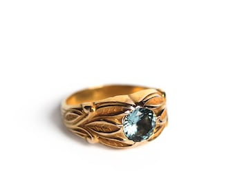 Victorian Lanceolate Leaves Ring in 14k Gold - Art Nouveau Aquamarine Wide Carved Allsopp Bros Gypsy Ring